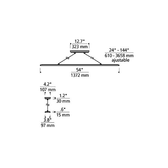 Parallax suspension lineaire DEL dimensions