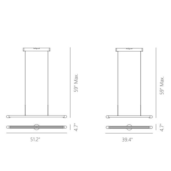 Florence suspension linéaire DEL dimensions