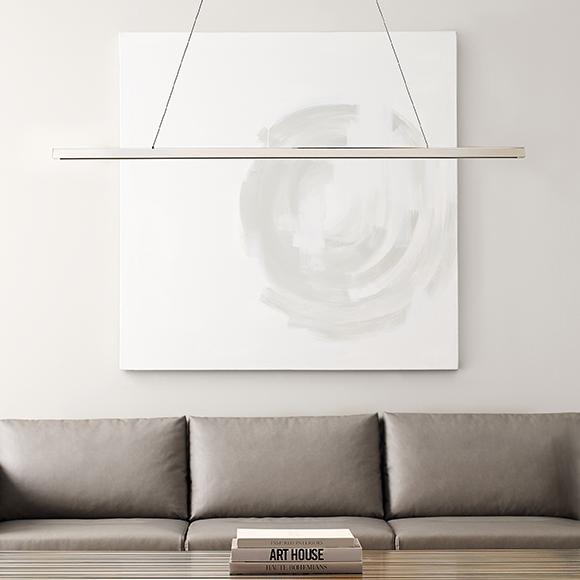Dessau est un luminaire linéaire suspendu Del au design ultra-moderne et élégant, il se suspend sans effort dans n'importe quel environnement modern.