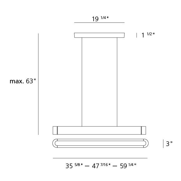talo d'Artemide suspension linéaire dimensions