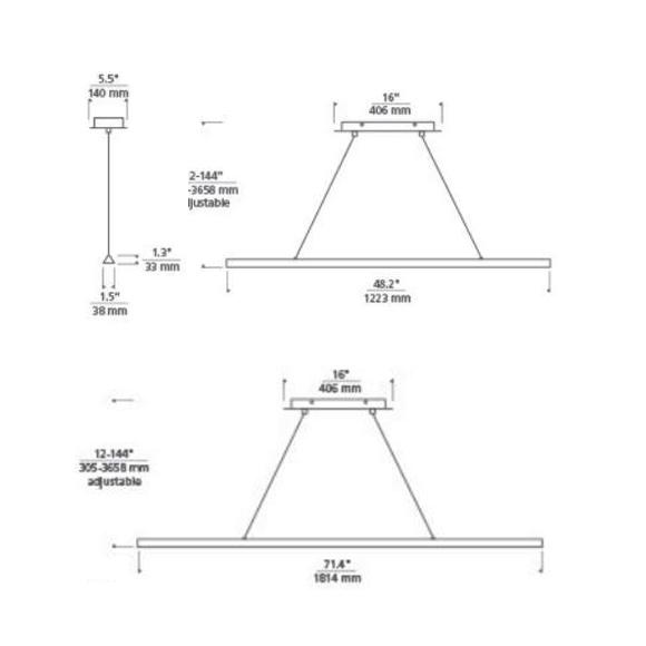 dessau est un luminaire suspendu linéaire del dimensions