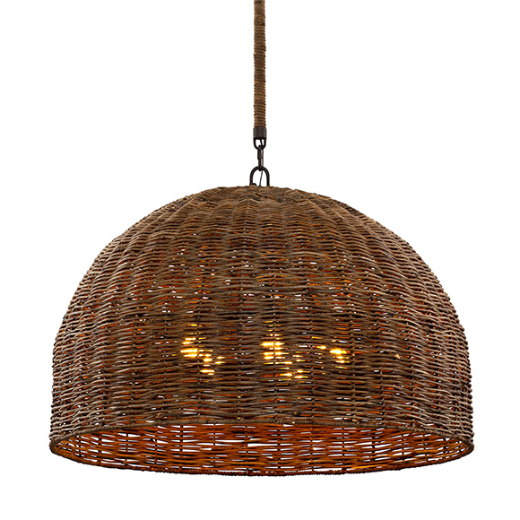 Huxley, luminaire suspendu en rotin apporte une touche naturelle est organique à votre décor, il est offert en quatre grandeurs 24'', 34'' et 44''